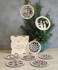 Набор деревянных елочных шаров