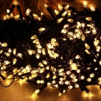 Гирлянда черная LED 400 теплый белый (конус)