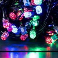 Гирлянда черная LED 100 мульти (рубин)