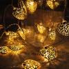 Гирлянда Сердечки золото LED 20 теплый белый
